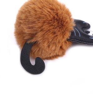 Accessories - Brown Pompom Kitty Keychain